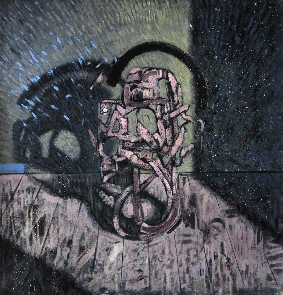 male head 1 2015 acrylic and oil on canvas 59x57 cm